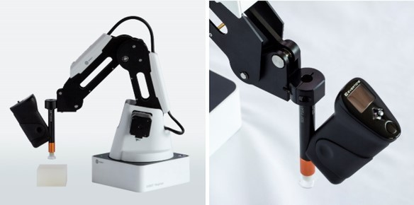 A solution that combines a robot arm and a sensor that quantifies softness