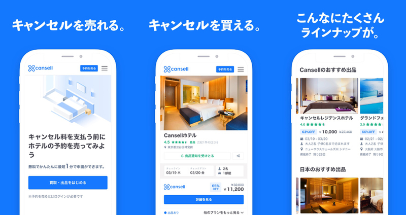 Cansell is a service to sell unneeded hotel reservations to another party. The listing fee is now free for March hotel reservations