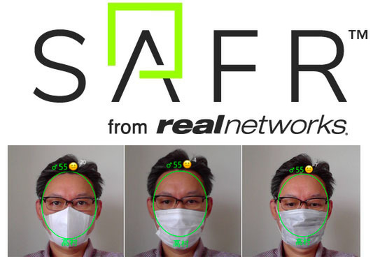 "Real Networks' facial recognition AI ""SAFR"" has a mask-on recognition feature"