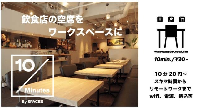 飲食店の空席をリモートワークに活用する「10Minutes by SPACEE」